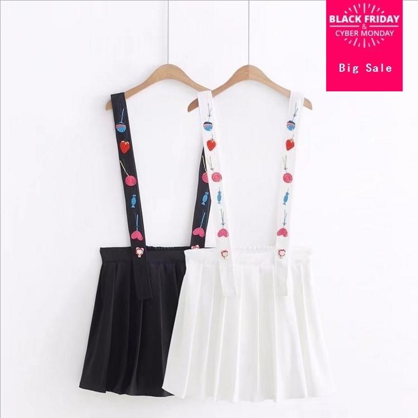 Japanese Mori girl sweet fresh college style cartoon embroidered mini strap skirt female 2018 summer new cute pleated skirt L387