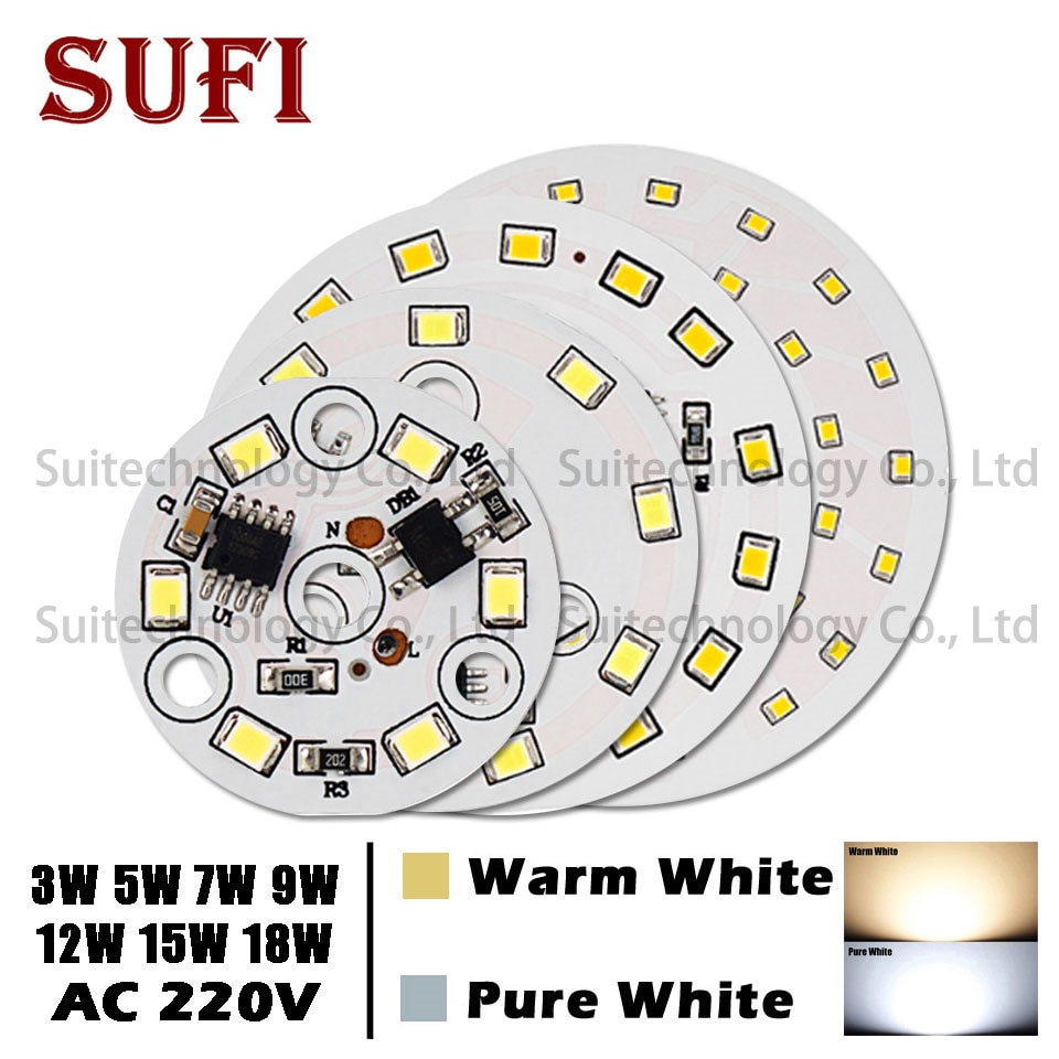 10pcs ac 220v LED Lamp Bulbs PCB Integrated Smart IC Driver 3w 5w 7w 9w 12w 15w 18w White & Warm White Light Board For Ceiling