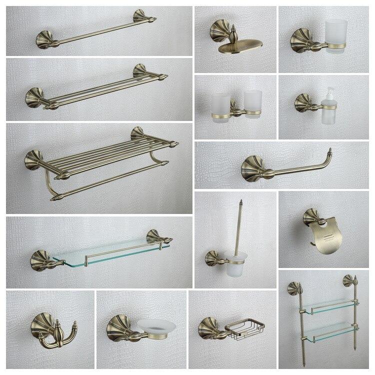 Latón antiguo 15 unids/set toallero soporte de papel cepillo de baño cesta de jabón golden baño ware accesorios de baño Set