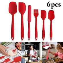 6pcs Silicone Spatula Set Non-stick Heat-resistant BBQ Cake Pastry Brush Spoon Kitchen Barbecue Oil Cream Pizza Cooking Tools