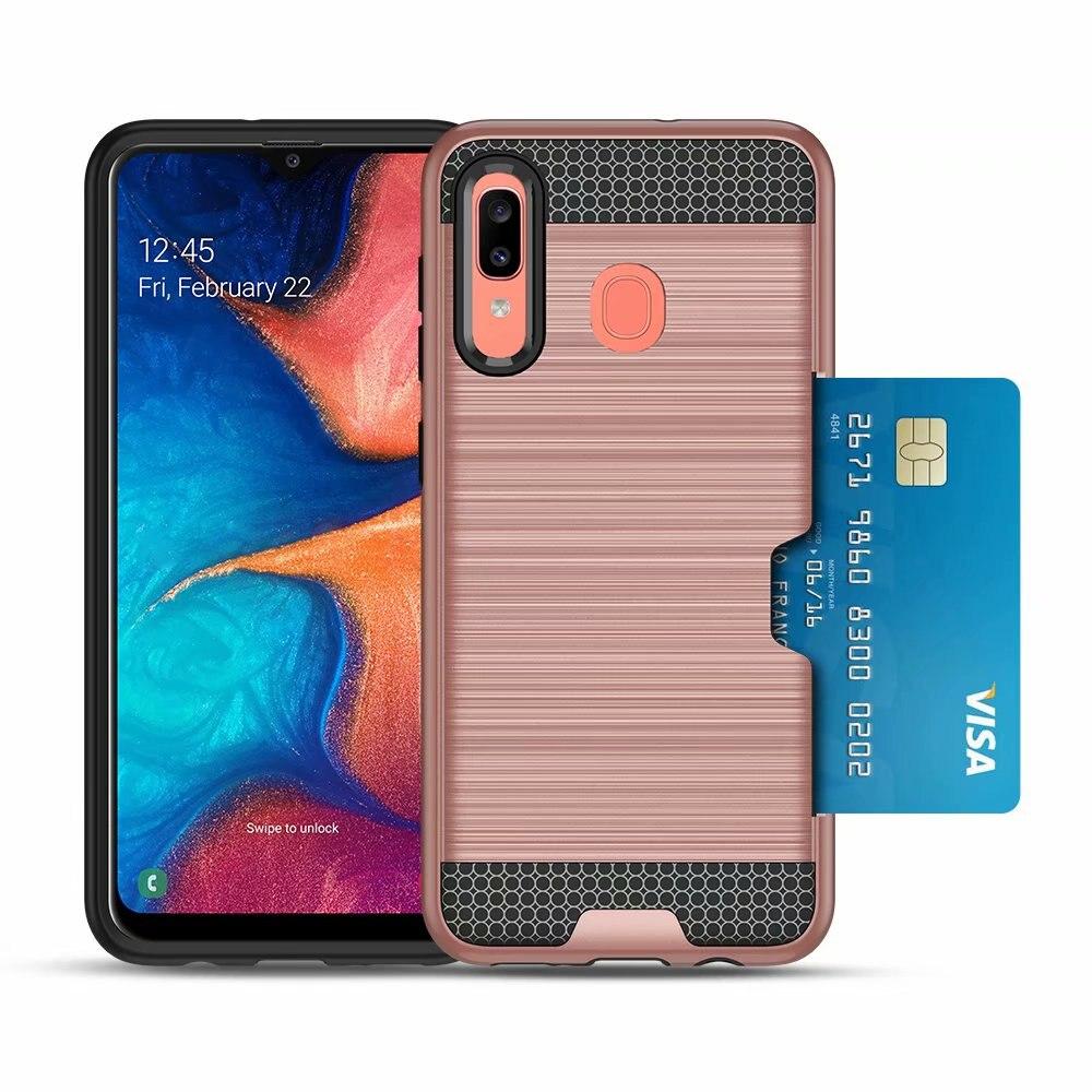 Funda rígida delgada a prueba de golpes con tarjeta de crédito integrada/ranura de identificación textura metálica cepillada para Samsung galaxy A20/A30