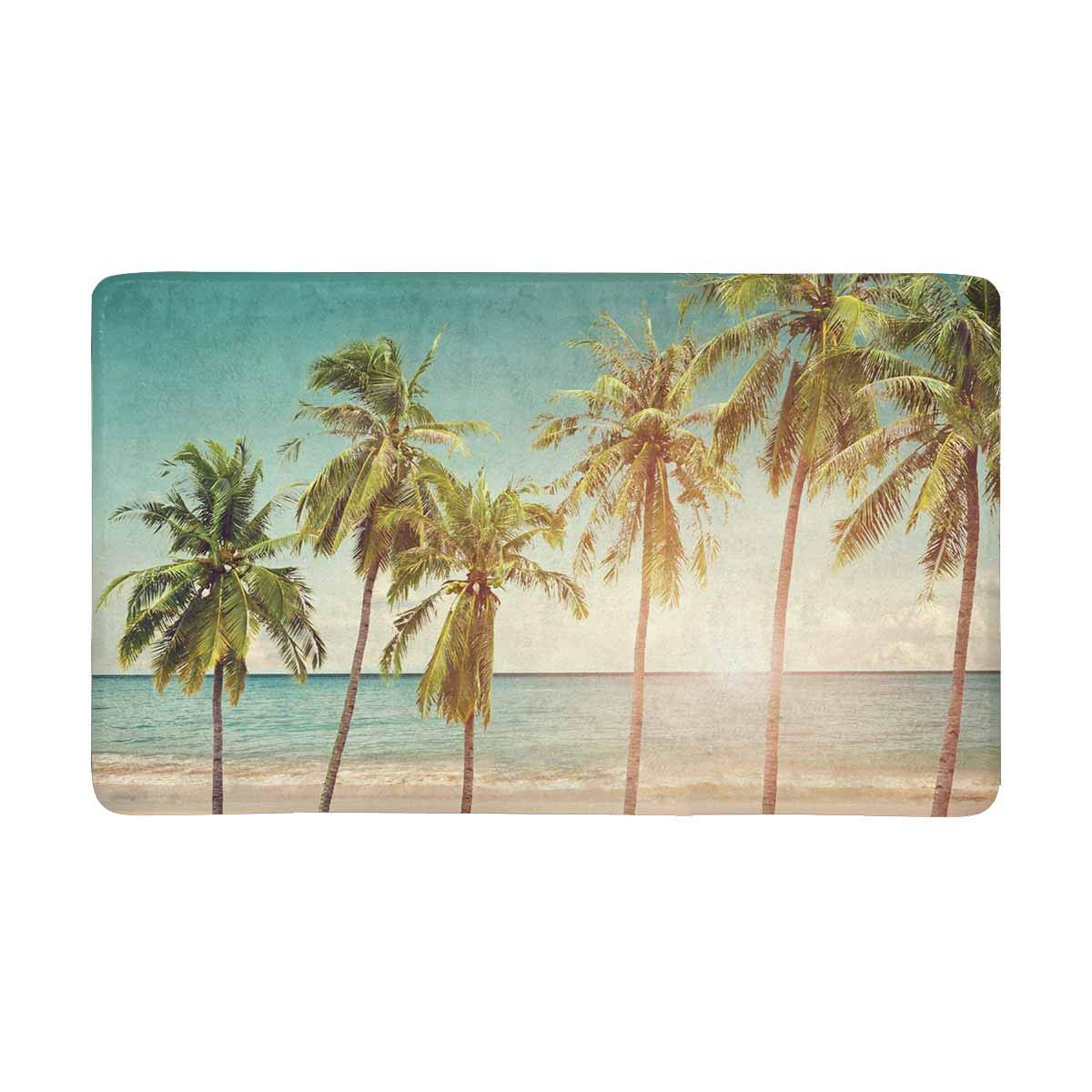 Felpudo de Interior para entrada de coco palmera playa en temporada de verano, alfombrilla antideslizante de respaldo, alfombras de entrada para decoración del hogar