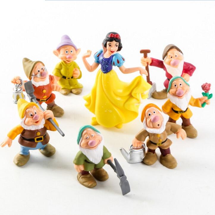8pcs/lot Snow White and the Seven Dwarfs PVC Action Figures Toys 5.5/9cm Doll High Quality