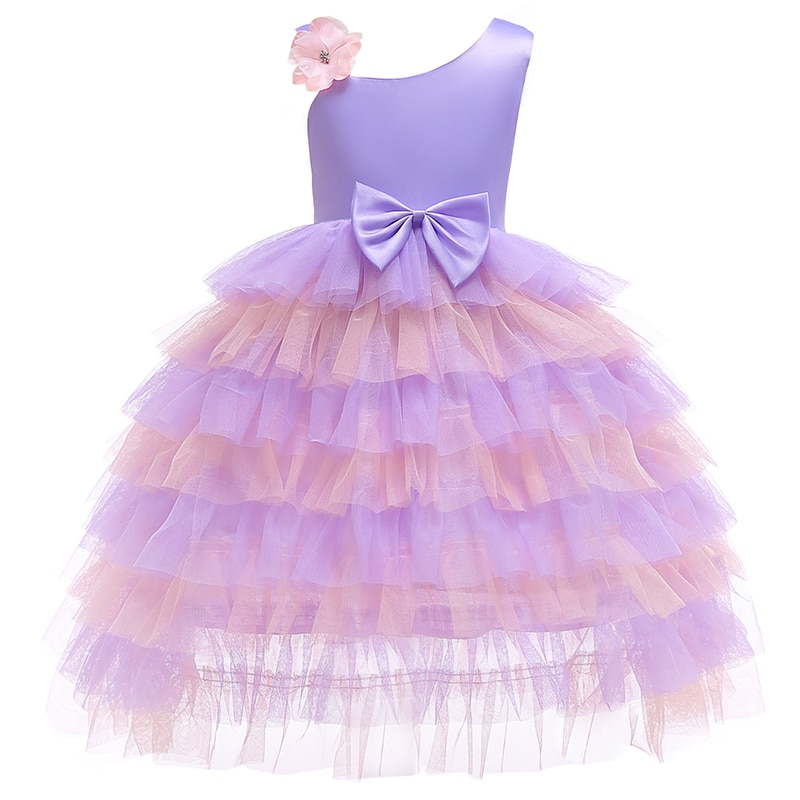Elegant Princess Baby Girls party Dress for Wedding Mesh Bow shoulder Kids Dresses for Toddler Girl Children Christmas Clothing