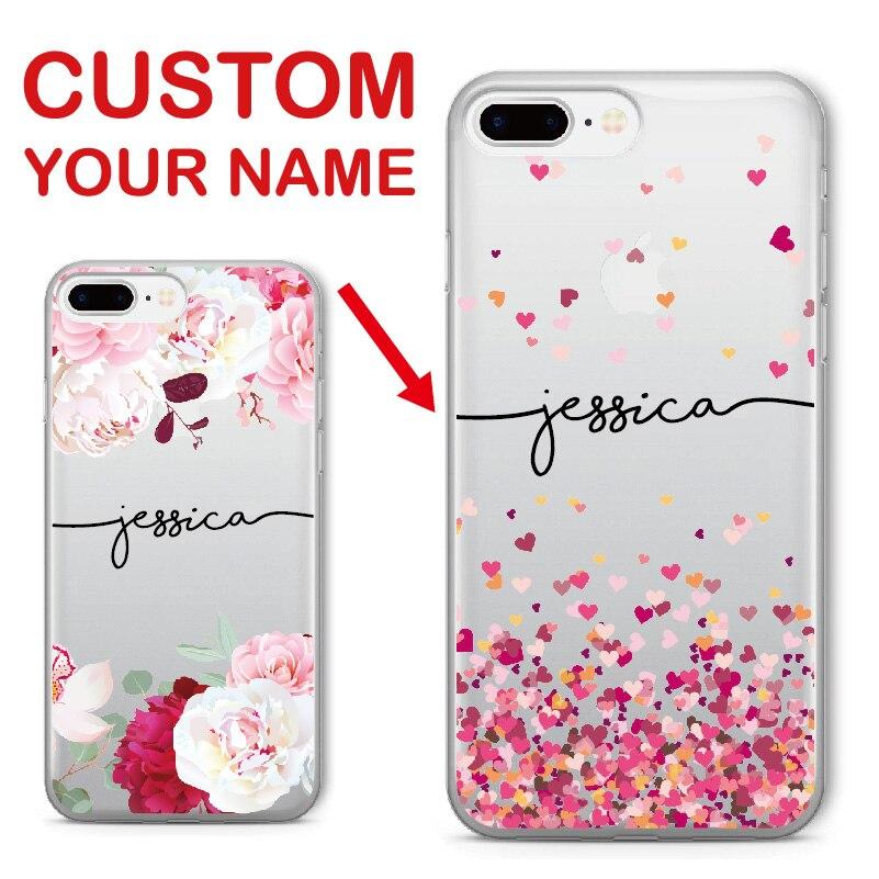Capinha de celular personalizada com nome personalizado, floral, macia, de cor clara, para iphone 6 6s xs max 7 7plus 8 samsung galaxy s7 s8 s9 8plus 5 x samsung