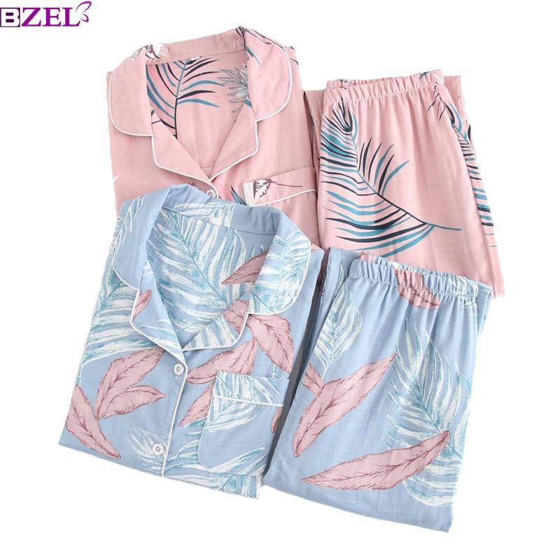 Primavera y verano hojas de las mujeres impresas 100% gasa de algodón señoras de manga larga conjunto de Pijamas conjunto ropa de dormir fina