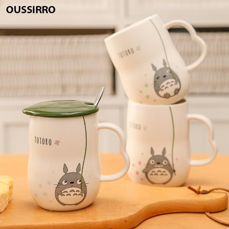 Новые 280 мл ручной работы Керамические кружки с ложкой и крышкой Тоторо мультфильм тема молочные кружки чашки кухонные инструменты