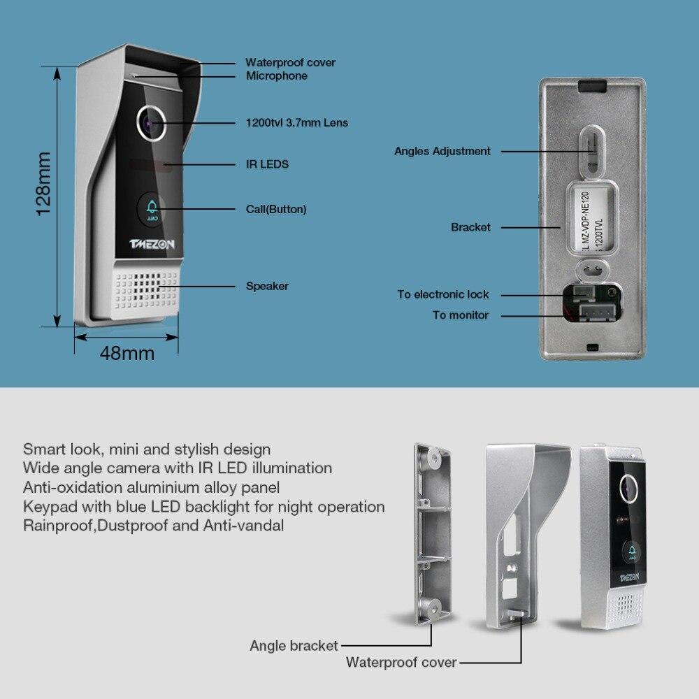 TMEZON 7 Inch TFT Wired Smart Video Door Phone Intercom System with 2 Night Vision Monitor + 2x1200TVL Rainproof Doorbell Camera enlarge