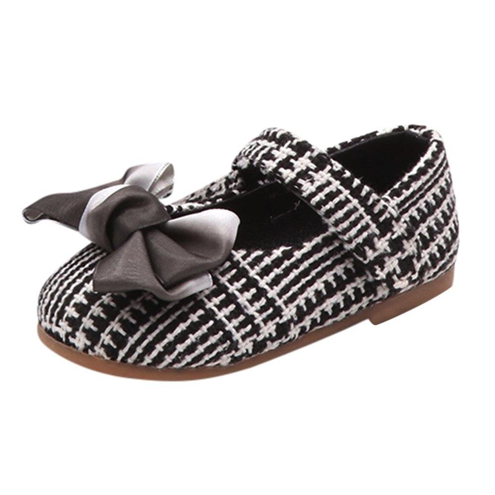 Niños chico bebé niñas Bowknot zapatos de princesa a cuadros Casual zapatilla zapatos individuales zapato infantil bebé slofjes 10
