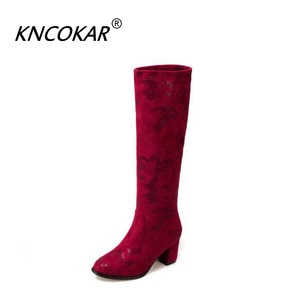 KNCOKAR Elegant Printed Flannelette European And American Knight Boots Thick And High Boots Round Head Martin Female Boots