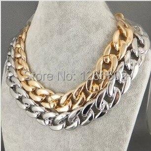 Nueva joyería de moda conciso Enchapado en oro y plata negro Punk gargantilla de cadena gruesa Collar para hombres y mujeres Accesorios
