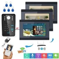 3 monitors 7 tft wired wireless wifi rfid password video doordoorbell phone intercom system with ir cut hd1000tvl camera