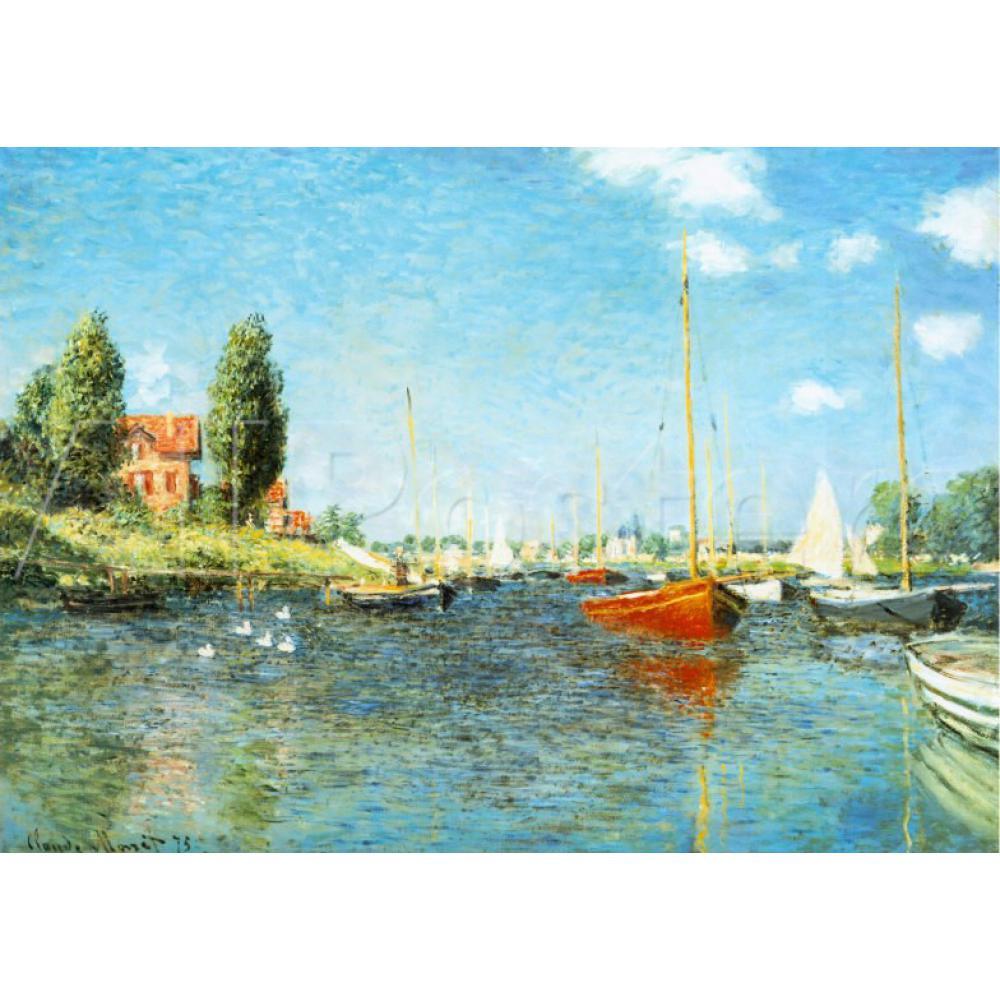 Botes rojos de Arte Moderno de alta calidad de estilo Cline Monet en Argenteuil, c. Reproducción de pinturas al óleo pintadas a mano