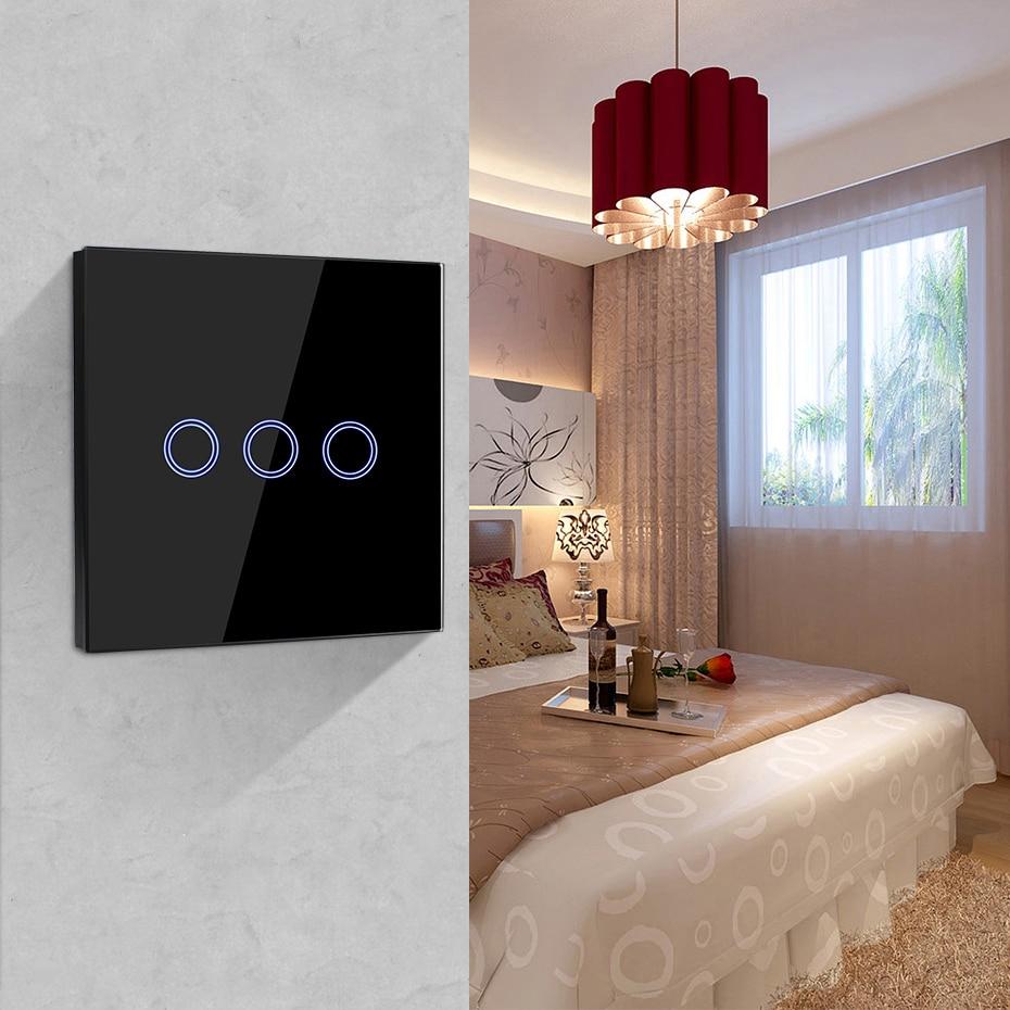 Interruptor de luz LED para pantalla táctil de luz de pared interruptor empotrado 220V EU UK interruptor de Control de panel táctil de cristal estándar