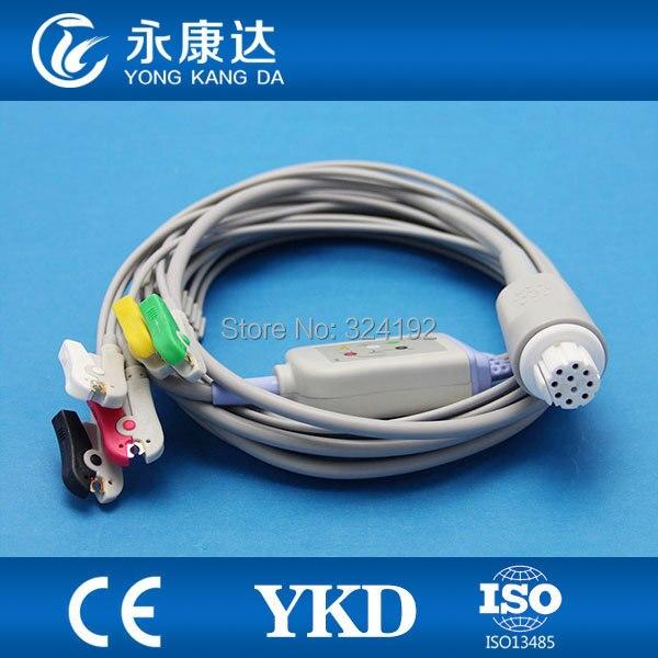 Envío Gratis S & W Artema 5 cable ECG de paciente serie de una pieza con cables, 10pin/IEC/CLIP ecg hilados conductores... ISO13485