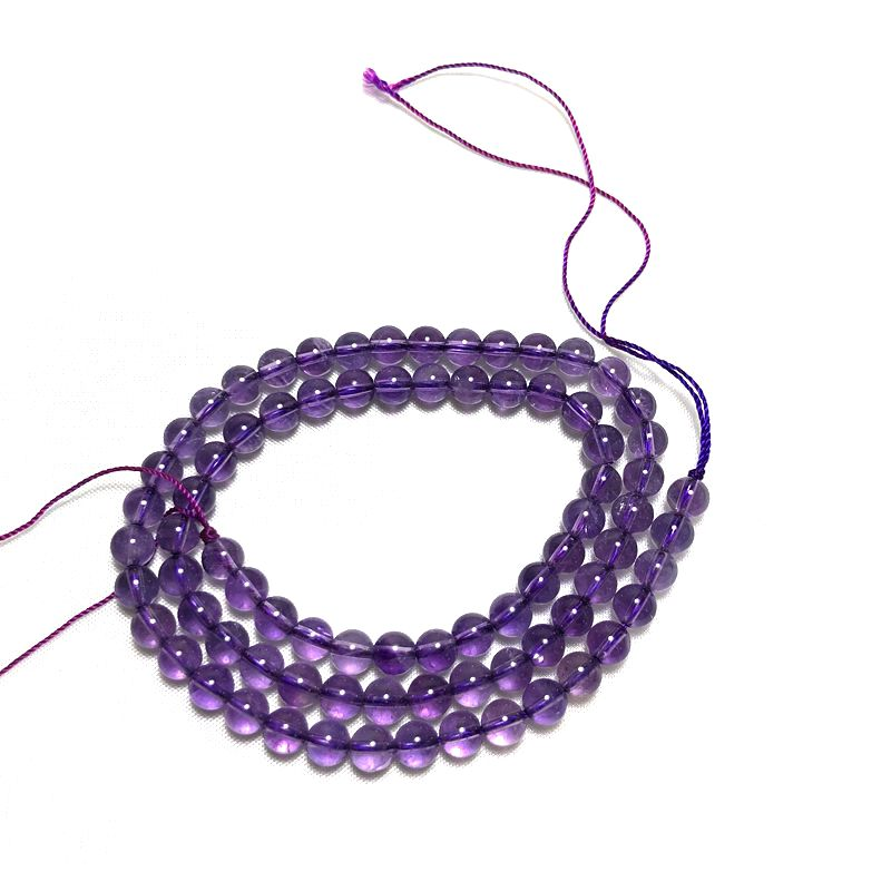Hay bolas semiacabadas de amatista natural de grado AA con un tamaño de 6 mm para collar de pulsera DIY con joyería de plata