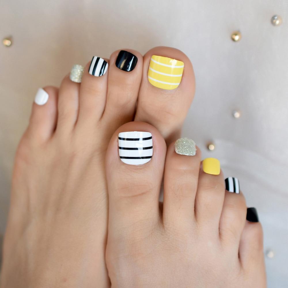 Искусственные ногти с желтым, белым, черным, серебряным блеском, накладные ногти для девушек, ногти на ногах, накладные ногти для пальцев ног