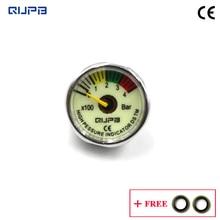 Qupb 1 인치 pcp 페인트 볼 압력 미니 게이지 빛나는 400bar m10x1 스레드 ges005