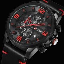 CURREN nouveau chronographe noir hommes montres de luxe mode sport homme montre-bracelet en cuir bracelet calendrier décontracté horloge daffaires