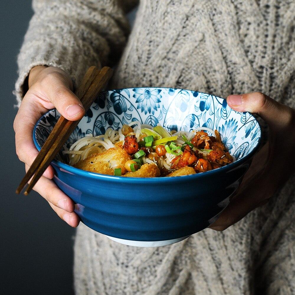وعاء رامين ياباني من السيراميك مقاس 7 بوصات ، للنودلز ، لوتس ، أوركيد ، تصميم إبداعي ، للمطعم ، حساء ريترو ، للمنزل