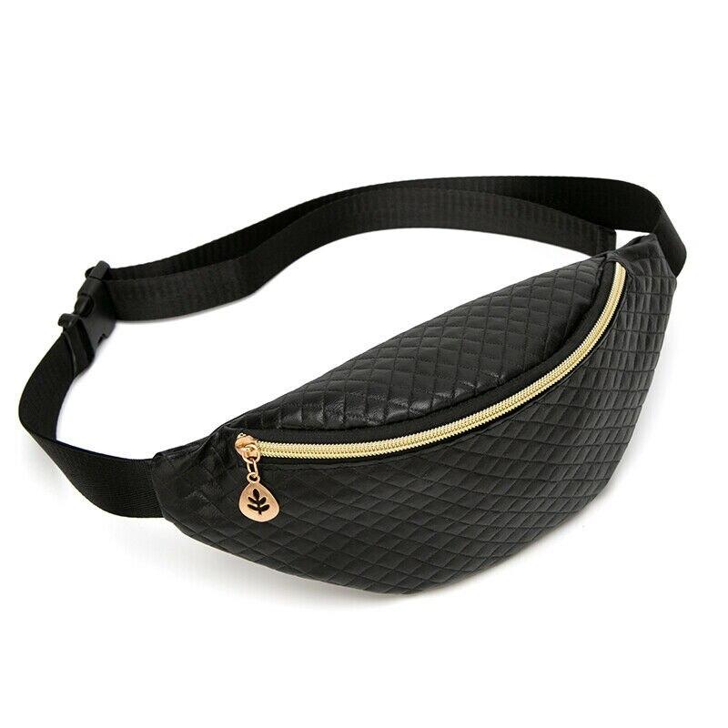 Riñonera ajustable para mujer, riñonera, riñonera de viaje, riñonera de cuero negro y dorado para Festival