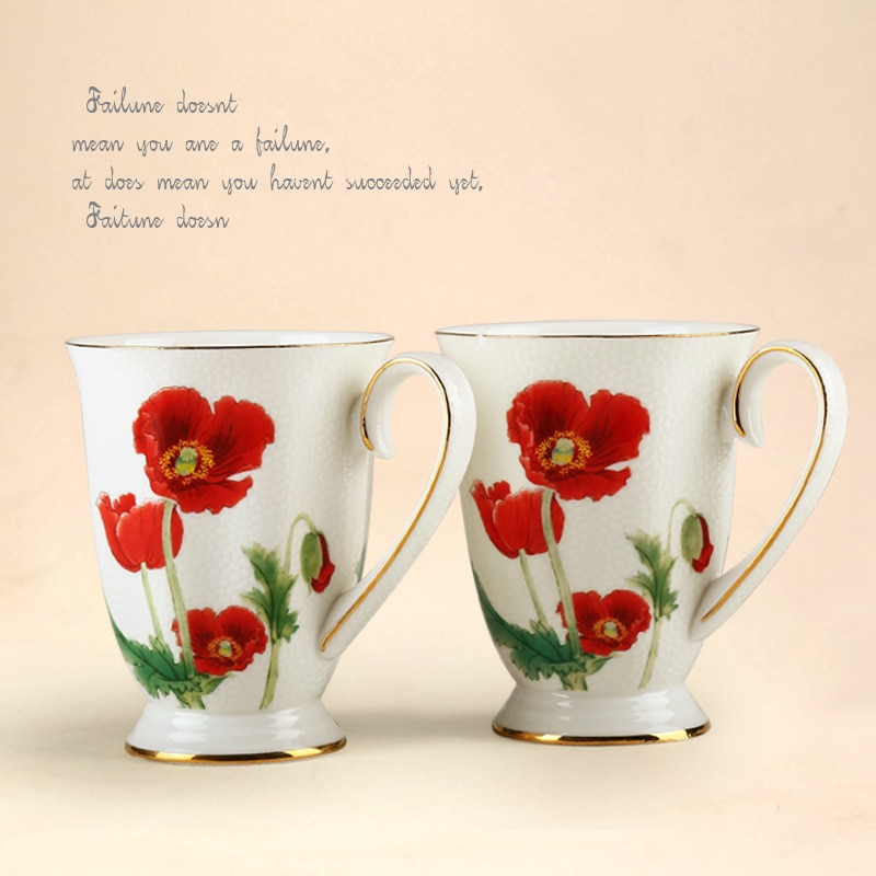 Taza de porcelana de estilo europeo, taza de desayuno, tazas de oficina, juego de té negro de la tarde británica, taza de café de porcelana