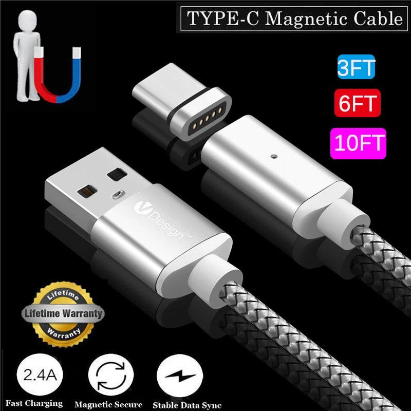 Cable magnético 1M/2M/3M USB tipo C USB-C Cable adaptador de carga rápida para Samsung S8 para Google Pixel2 para Oneplus 5T