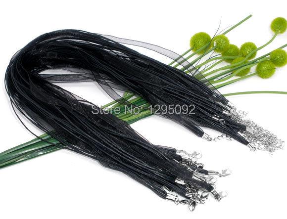 30 piezas envío gratis nuevo color negro Organza cinta Waxen cordón collar langosta creación componente mujeres y hombres joyería 43 cm