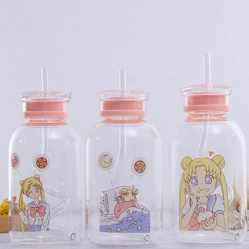 450ML זכוכית בקבוק עם מכסה עם קש שתיית בקבוקי מים יפה קריקטורה נייד טיולי קמפינג שלי בקבוק ילדי ילדים