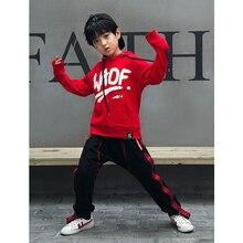 Girls Boys Loose Ballroom Jazz Hip Hop Dance Competition Costume Hoodie Sweatshirt Tops Pants for Ki