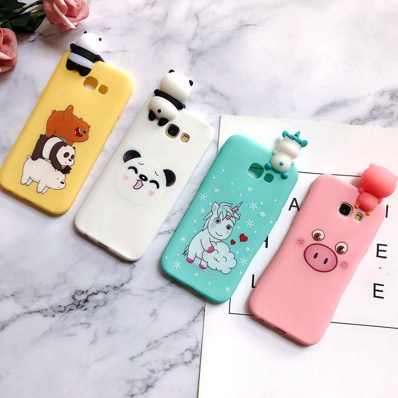 A30 A50 M10 M20 3D para estuche Samsung Galaxy A6 A7 A8 A9 2018 Kawaii oso unicornio funda para Samsung A3 A5 A7 2017 casos