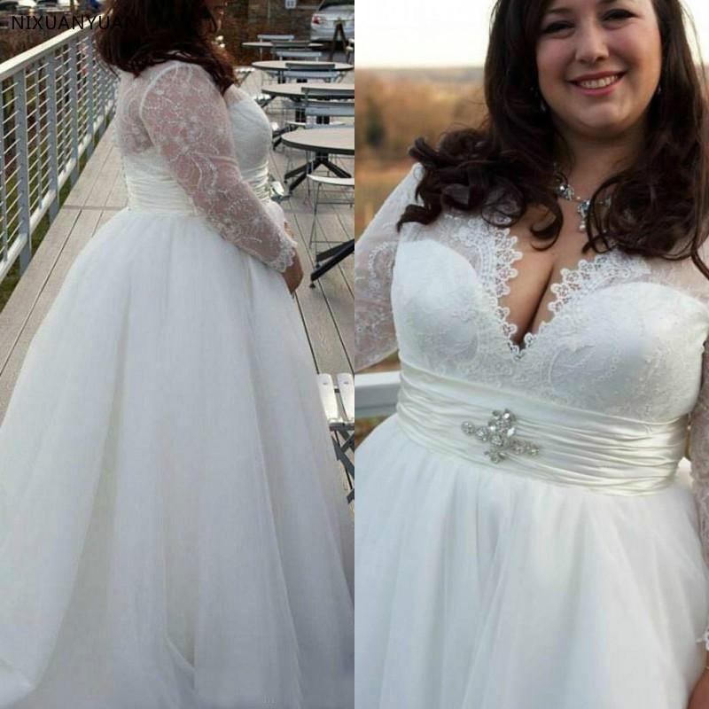 Elegant Long Sleeves V Neck Designers White Ivory Lace Women Mature Women Adult Bridal Gowns Big Size Wedding Dresses