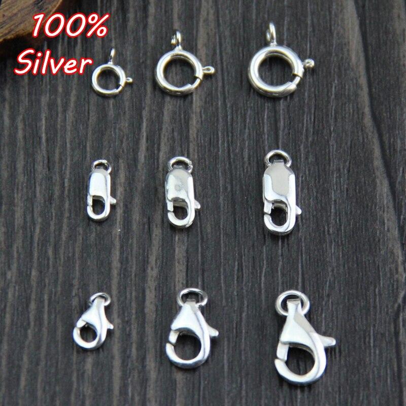 4 Uds 100% 925 ganchos de cierre de langosta de Color plata esterlina para collar y pulsera cadena DIY joyería de moda haciendo hallazgos