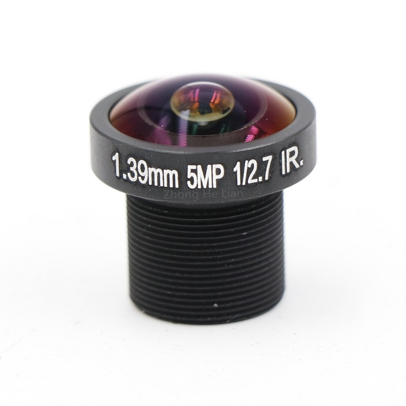 Cámara CCTV 1,39mm lente 5,0 megapíxeles ojo de pez 180 grado MTV M12 x 0,5 montaje lente infrarroja de visión nocturna para cámara CCTV