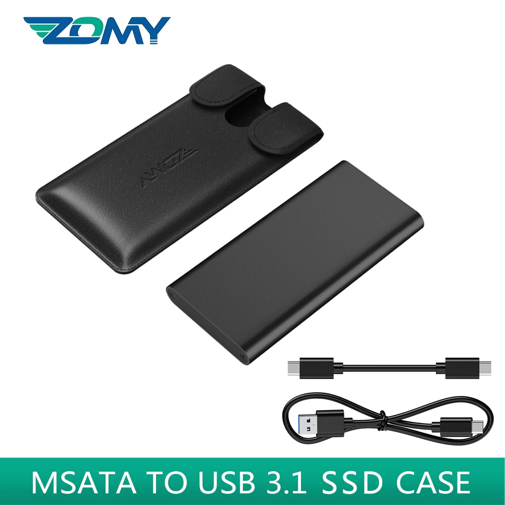 ZOMY mSATA To Usb 3.1 SSD Case Portable Aluminum 3*3/3*5 10Gbps Black  External HDD Enclosure Mobile Solid State Disk HD6012