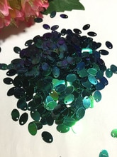 Paillettes ovales en PVC 5*8mm 3000 pièces/lot   Ellipse plat avec trou latéral, vêtement de danse sur le ventre, accessoires bricolage vert foncé AB