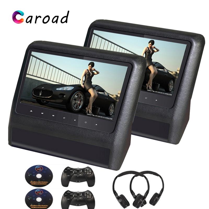 Caroad, 2 uds., Monitor de DVD para reposacabezas de coche de 9 pulgadas, reproductor de pantalla LCD, USB/SD/IR/transmisor FM/altavoz/juego/mando a distancia