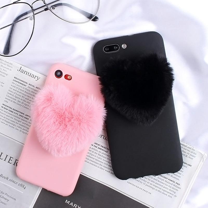 Pelzigen Liebe Herzen Nette haar Telefon Fall für iPhone SE 2020 7 Plus 11 Pro Max X XR XS 8 6s 6 5 5S SE 5C 4 4s Telefon Abdeckung