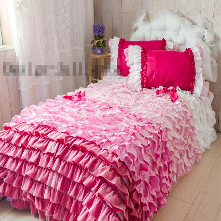 Juego de ropa de cama con capas de pastel, edredón de princesa con volantes tamaño king queen completo, falda de cama de encaje Rosa romántica para boda, envío gratis