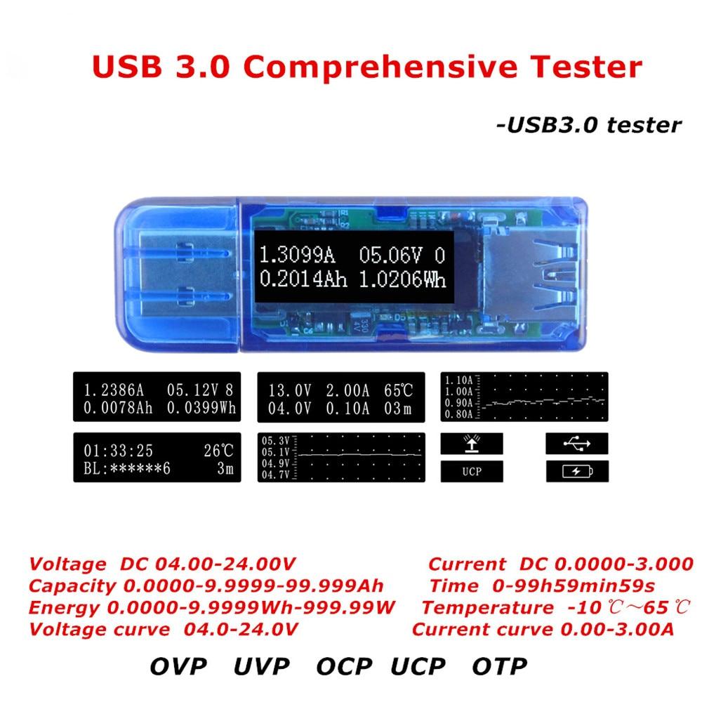 Probador USB 3,0 OLED probador completo medidor de voltaje de corriente voltímetro amperímetro probador de capacidad de energía para cargador