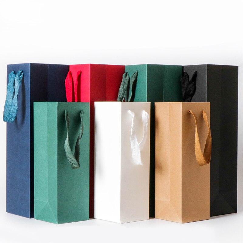 Saco de papel de vinho sólido com fita de náilon caixa de embalagem de presente único saco de garrafa dupla portátil pacote de portador de garrafa de óleo de vinho