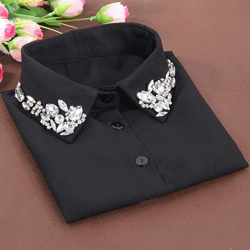 Moda coreana blanca media camisa desmontable de alta calidad de la blusa femenina de cristal falso collar blusas Peter pan desmontable Collar