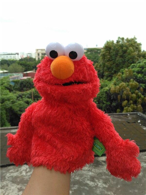 Marionetas de mano de calle de 25cm, muñecos de peluche suaves, marionetas de mano azules, Elmo, galleta de sésamo, Grover, elmo, regalos azules para fiestas