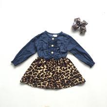 Vêtements dautomne pour petites filles   En denim, à manches longues, imprimé léopard, pour filles