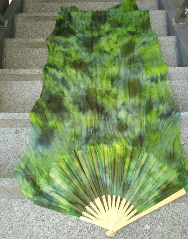 Professional Neilos Belly Dance Silk Fan Veils Black Flower Green Background Belly Dacing Long Fans Multi Size Free Shipping