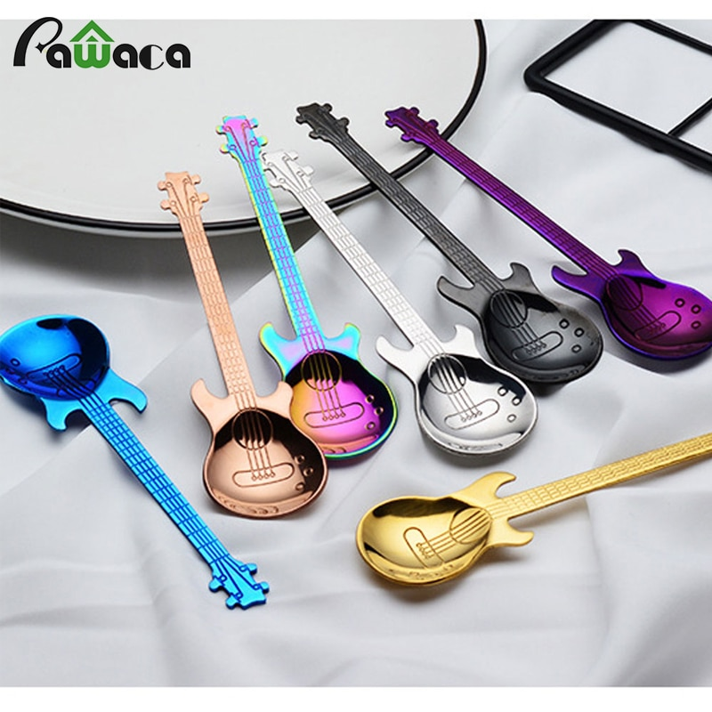 Комплект кофейных ложек для гитары из нержавеющей стали, 7 шт./4 шт., ложки для мороженого, чайные ложки, кофейные принадлежности, приборы для питья