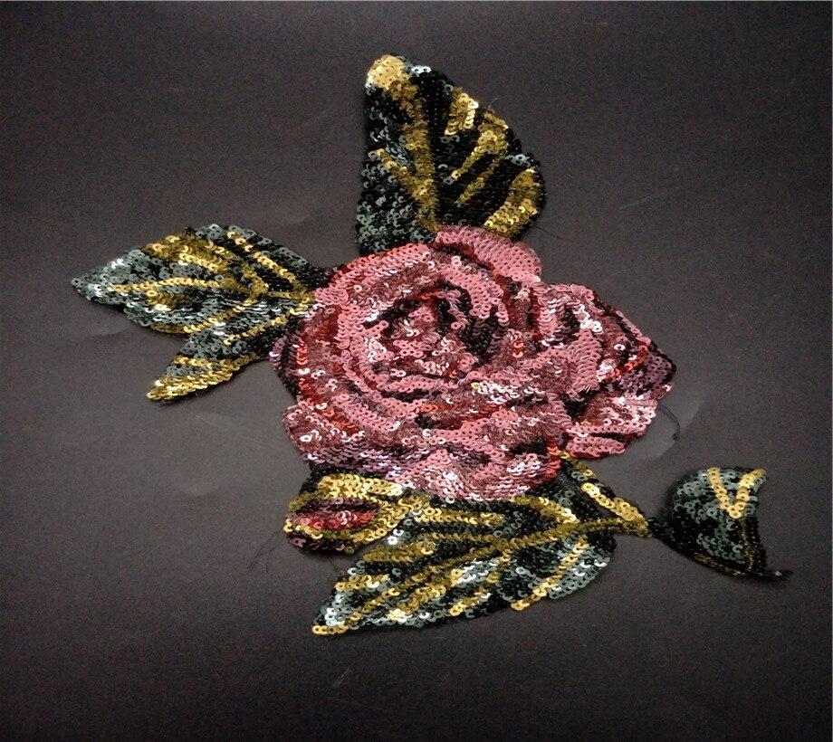 Flor ropa con lentejuelas apliques, parches vintage bordado parche para coser decoración de moda parche decorativo accesorios Diy