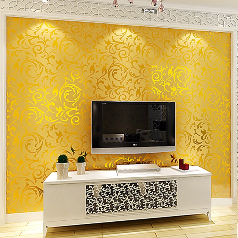 Обои из золотой фольги в рулонах Papel де parede 3D фрески Дамасская настенная бумага рулон Современная papier peint papel настенная бумага