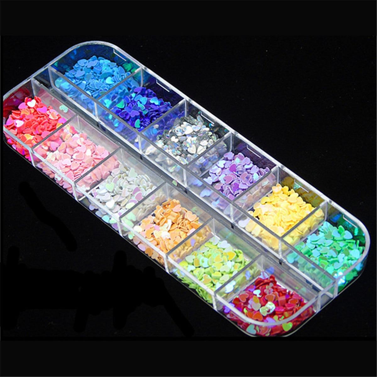 Las uñas Paillette de brillo lentejuelas amor corazón diamante uñas artísticas confeti ocasión artesanía de accesorios de decoración 12 de la caja de Color