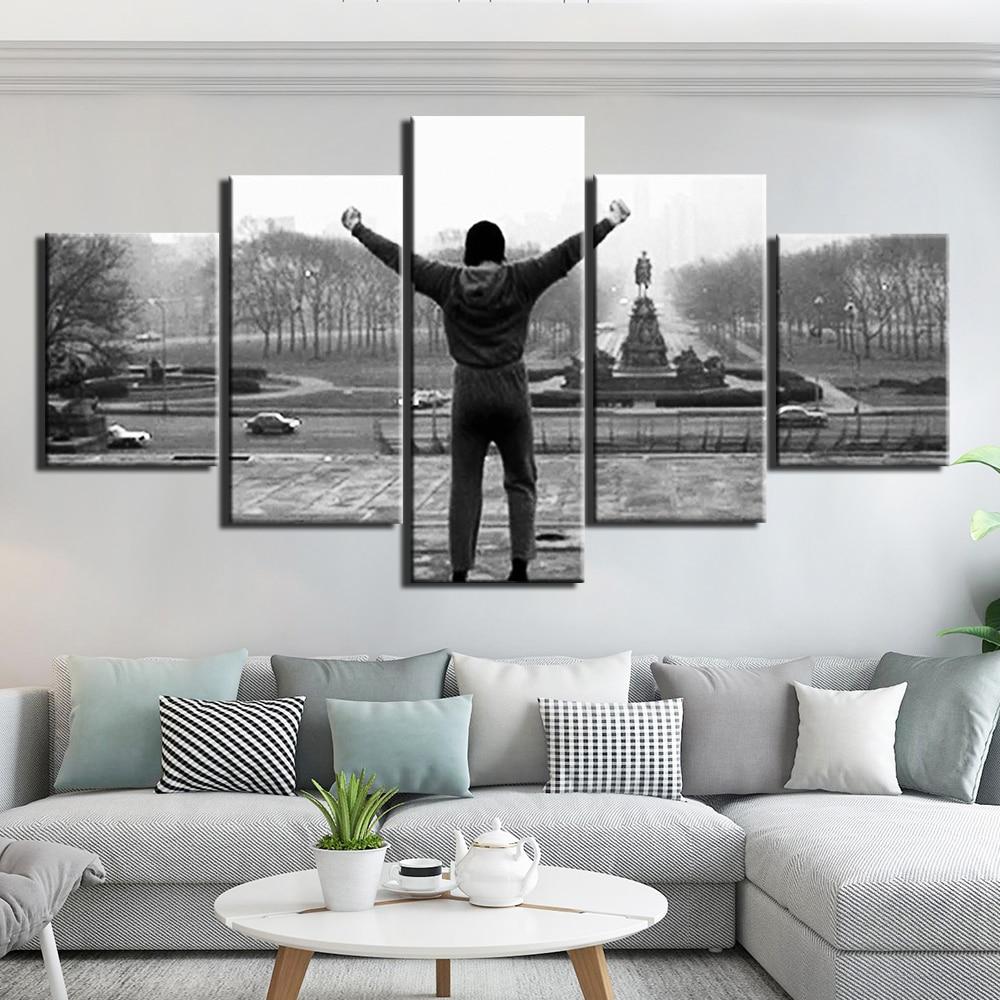 Quadro de pintura inspiracional rocky balboa, 5 painéis de impressão de tela hd arte de parede 5 peças do filme